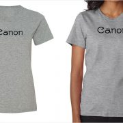 Canon vintage logo women's grey t-shirt at Vintage Camera Lab