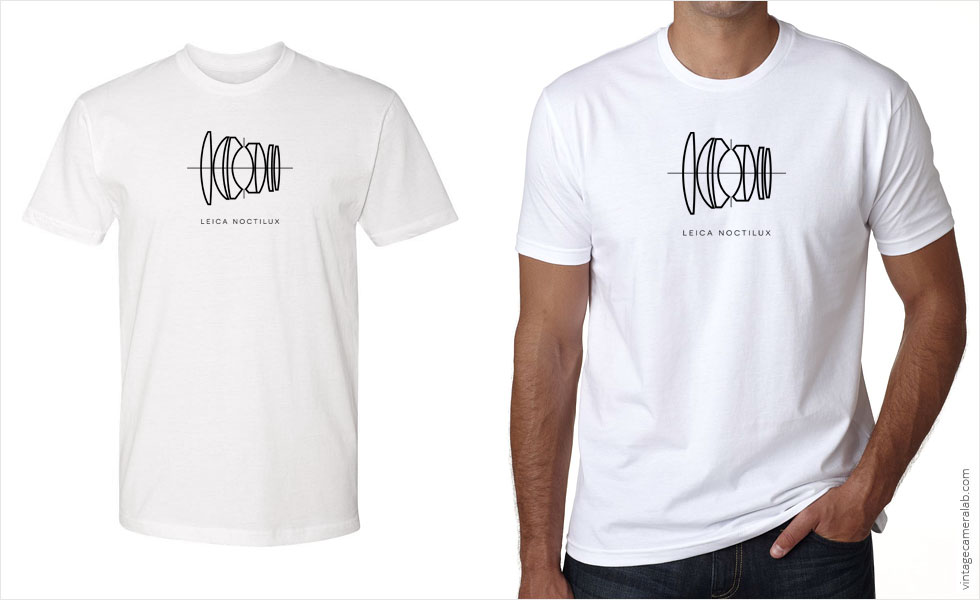 Leica Noctilux lens diagram men's white t-shirt at Vintage Camera Lab
