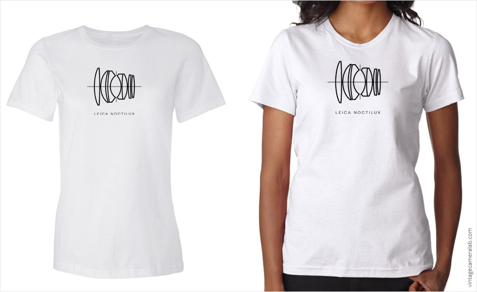 Leica Noctilux lens diagram women's white t-shirt at Vintage Camera Lab