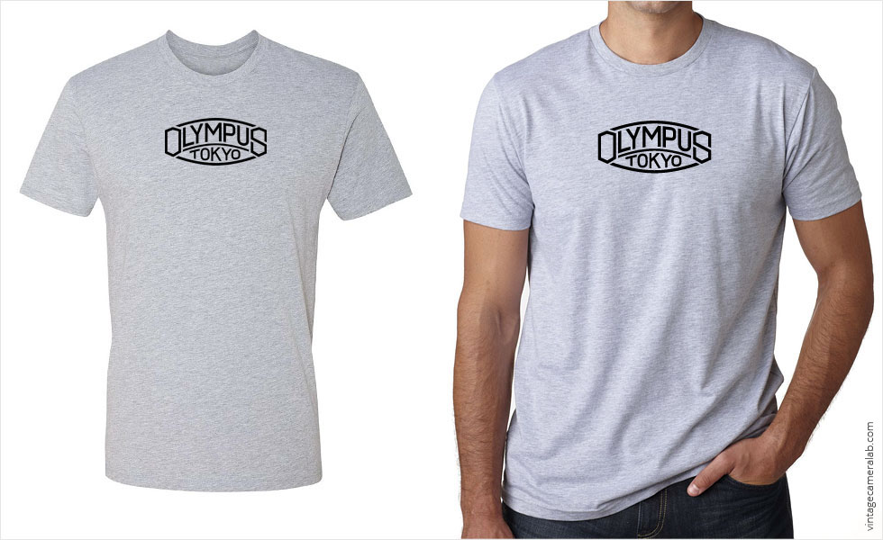 Olympus vintage logo men's grey t-shirt at Vintage Camera Lab