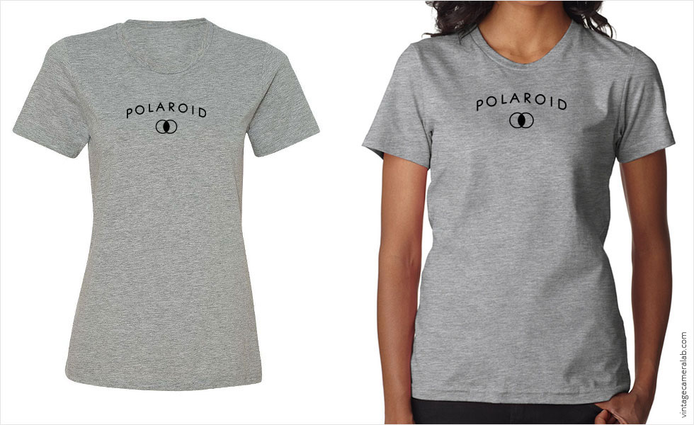 Polaroid vintage logo women's grey t-shirt at Vintage Camera Lab