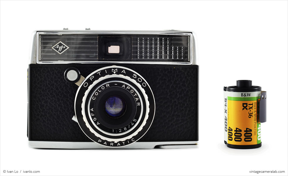 Agfa Optima 500 (with 35mm cassette for scale)
