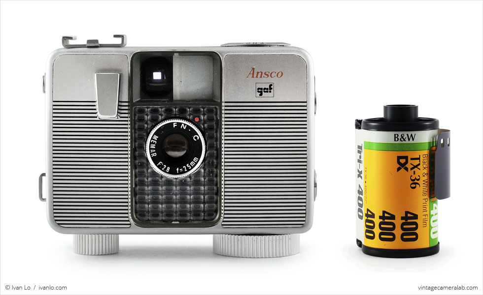 Ansco Memo II Automatic (with 35mm cassette for scale)
