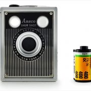 Ansco Shur-Shot (with 35mm cassette for scale)