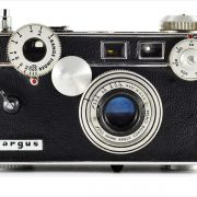 Argus C3 (front view, with Cintar 50mm f/3.5)