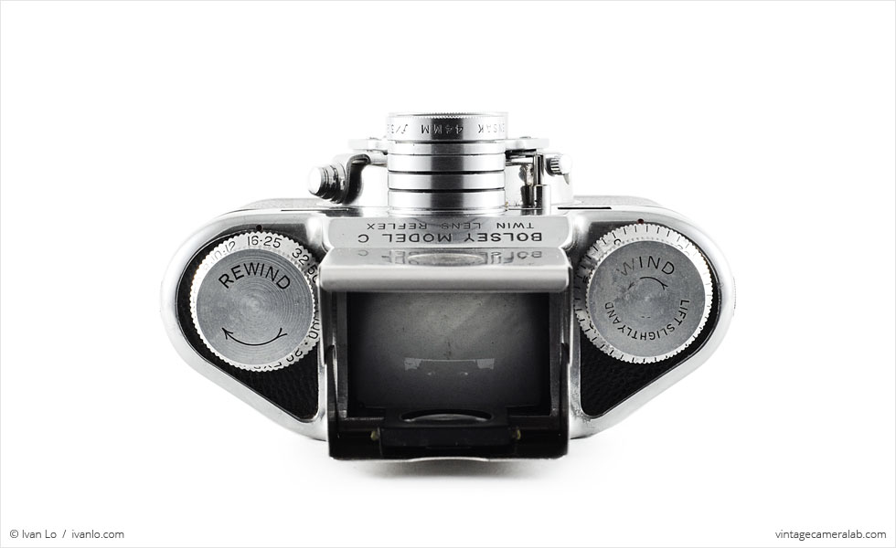 Bolsey Model C (top view, viewfinder open)