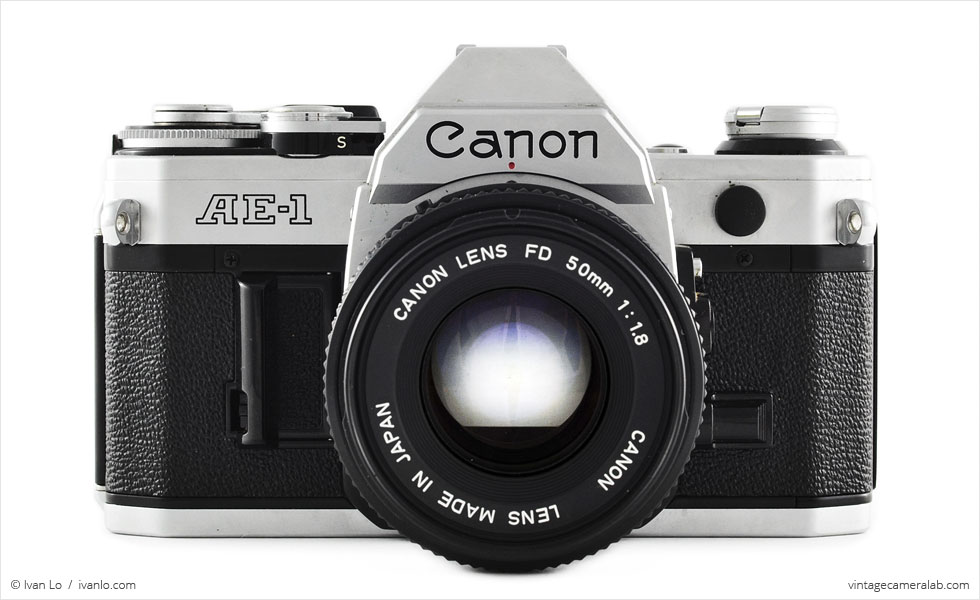 Canon AE-1 (front view, with Canon FD 50mm f/1.8)