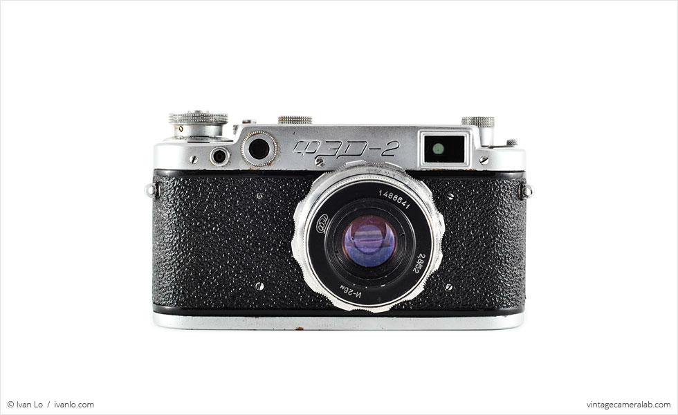 FED-2 (front view, with Industar-26m 52mm f/2.8 lens)