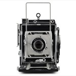 Graflex Crown Graphic (front view, peep finder and wire frame finder up)
