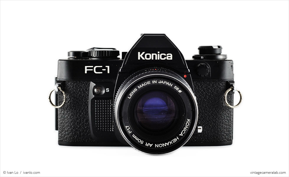 Konica FC-1 (front view, with Konica Hexanon 50mm f/1.7)