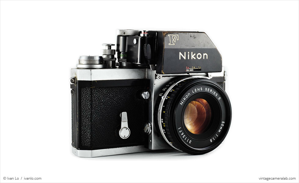 Nikon F (three quarters, with Nikkor 50mm f/1.8 lens)