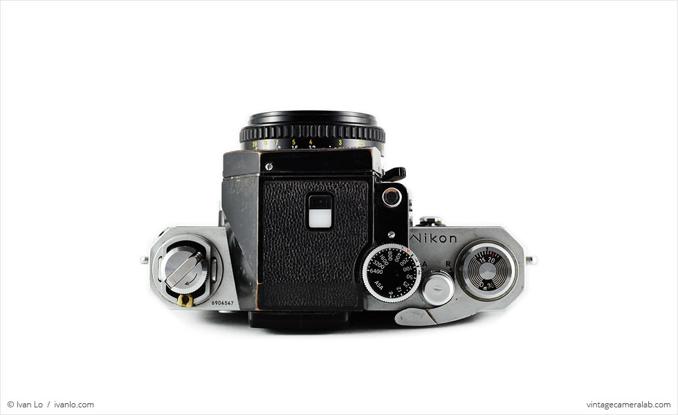 Nikon F (top view, with Nikkor 50mm f/1.8 lens)