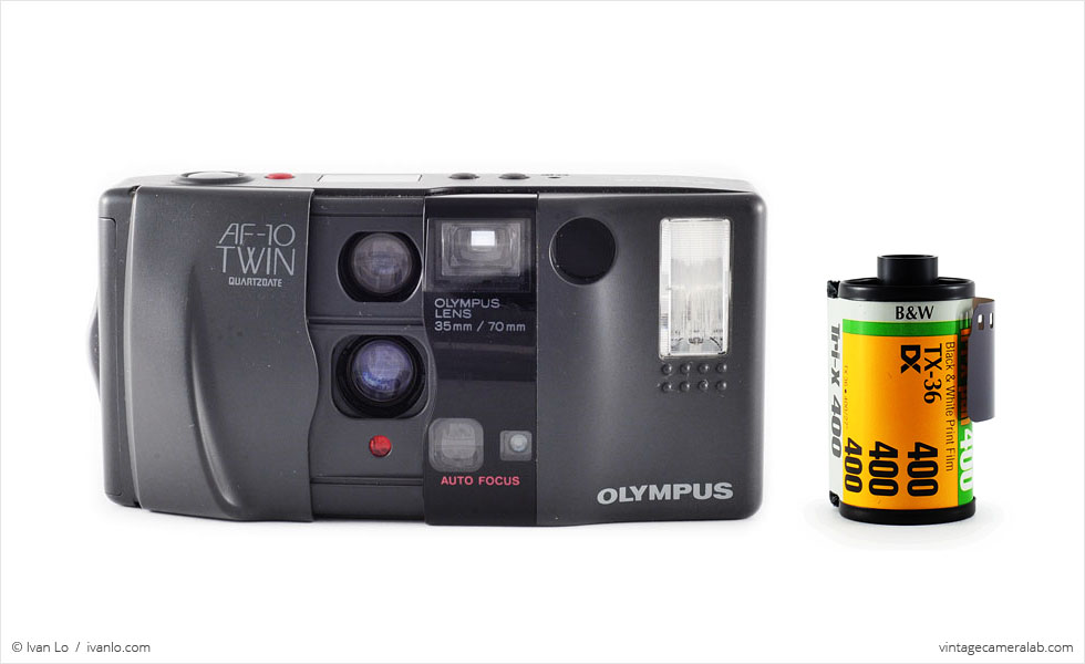Olympus AF-10 Twin (with 35mm cassette for scale)