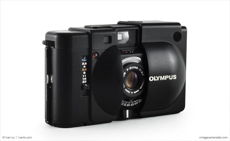 Olympus XA (three quarters, open)
