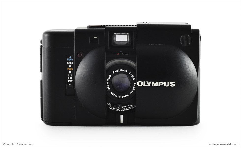 Olympus XA (front view, open)