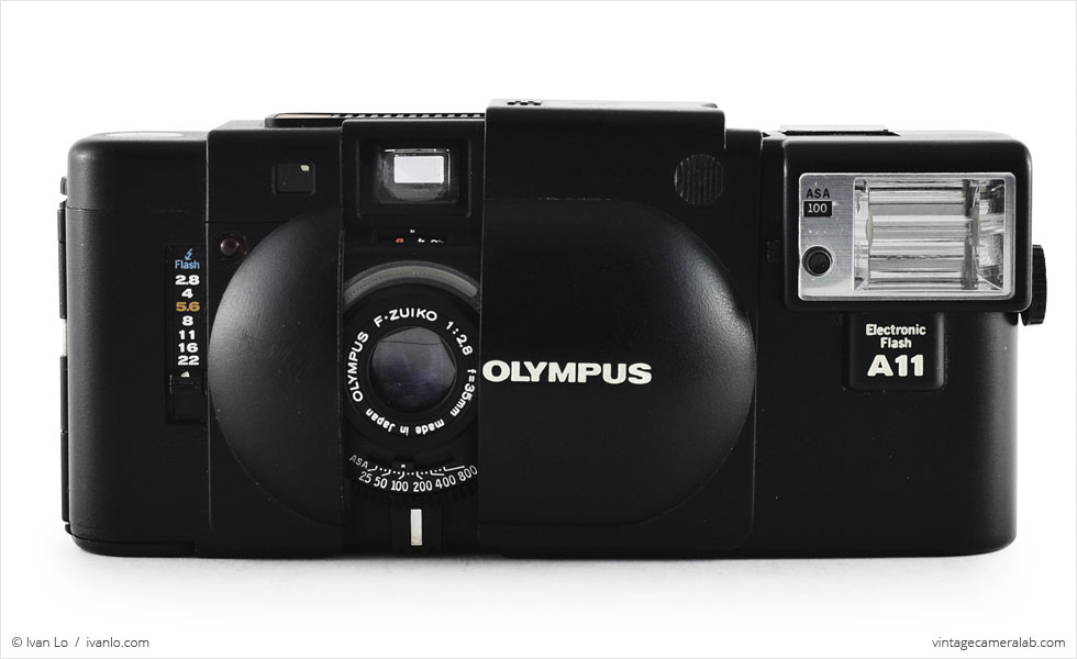 Olympus XA (front view, open with A11 flash attachment)