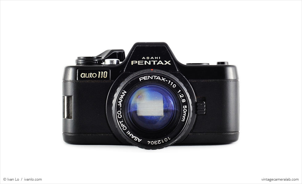 Pentax Auto 110 (front view, with Pentax-110 50mm f/2.8 lens)