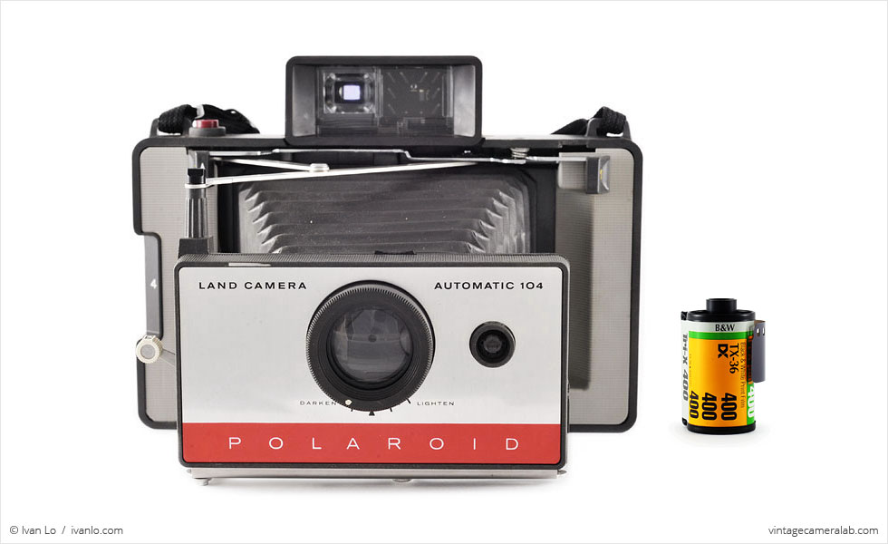 Polaroid Land Model 104 (with 35mm cassette for scale)