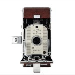 Polaroid Land Model 95A (front view, open, viewfinder up)