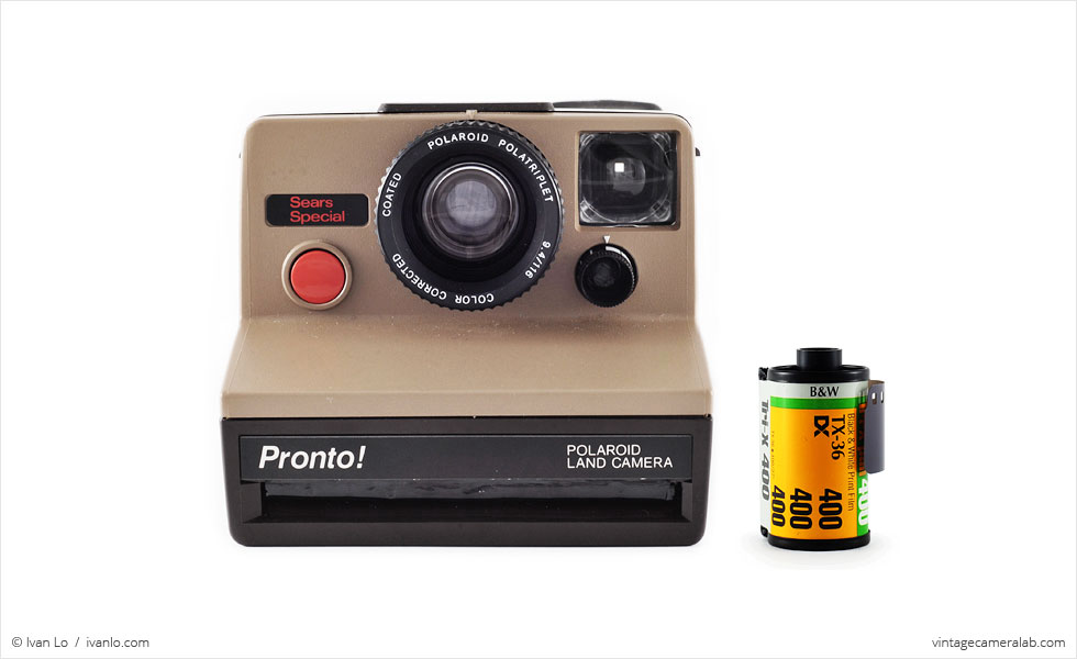 Polaroid Pronto! Sears Special (with 35mm cassette for scale)
