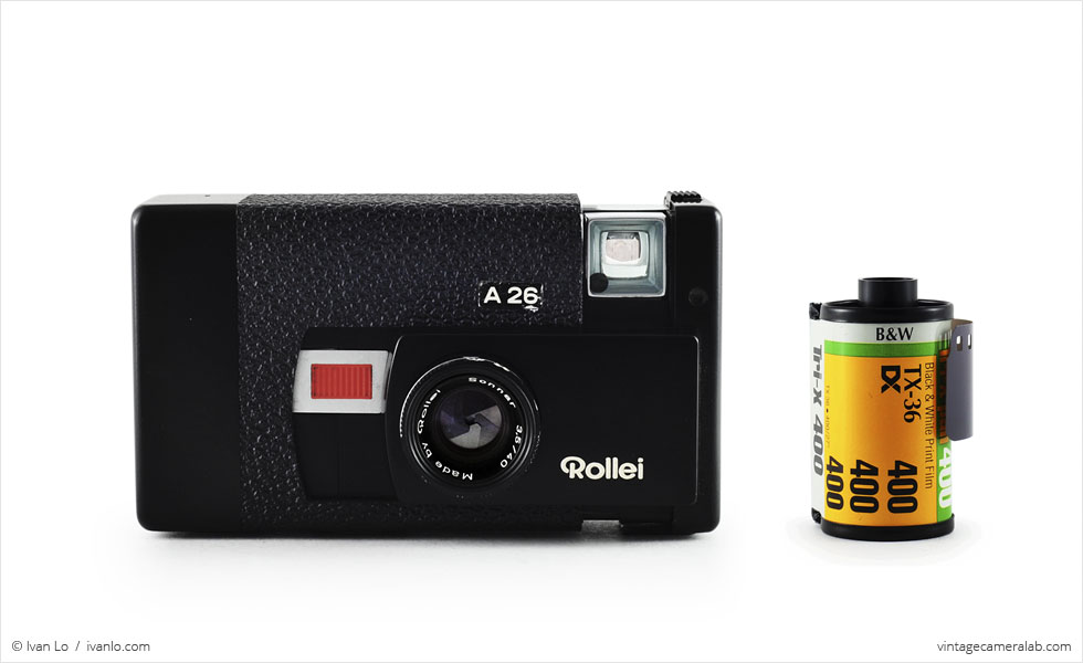 Rollei A26 (with 35mm cassette for scale)