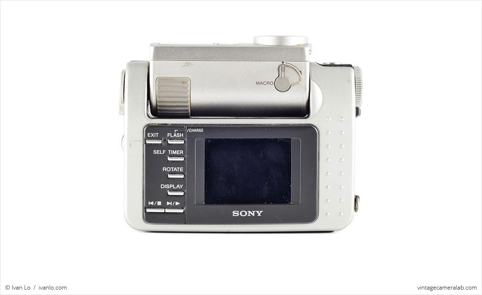 Sony DSC-F1 (rear view, lens rotated 90°)
