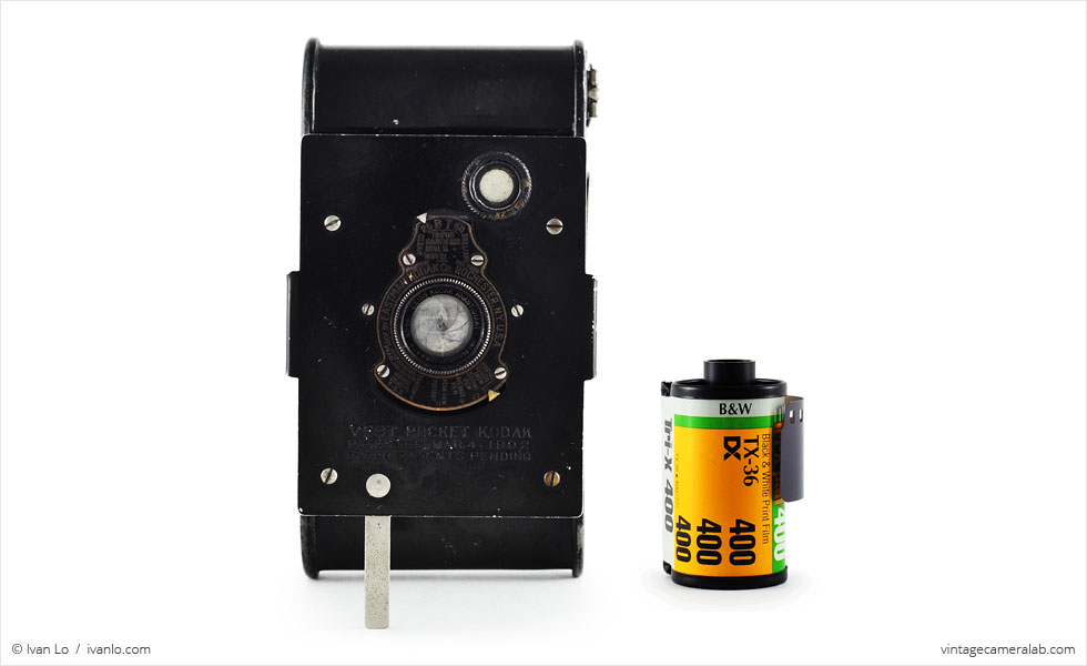 Vest Pocket Kodak (with 35mm cassette for scale)