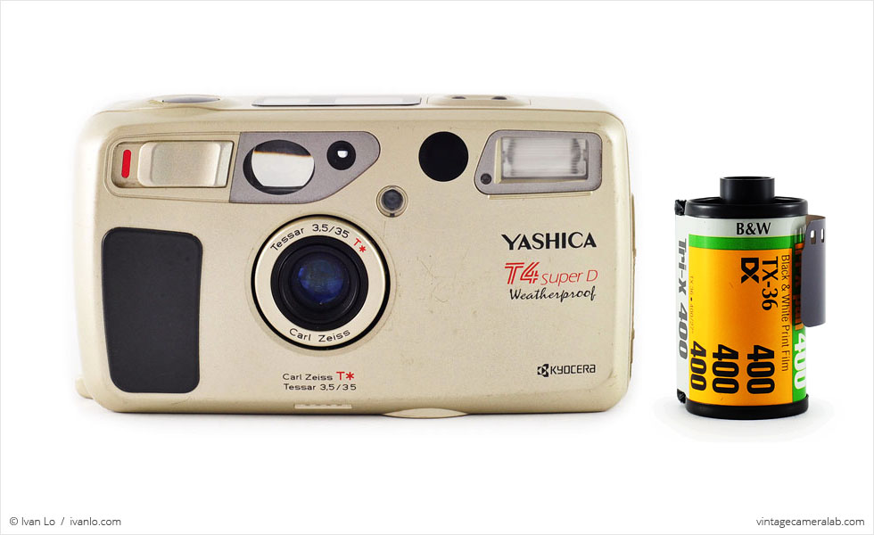 Yashica T4 Super D (with 35mm cassette for scale)