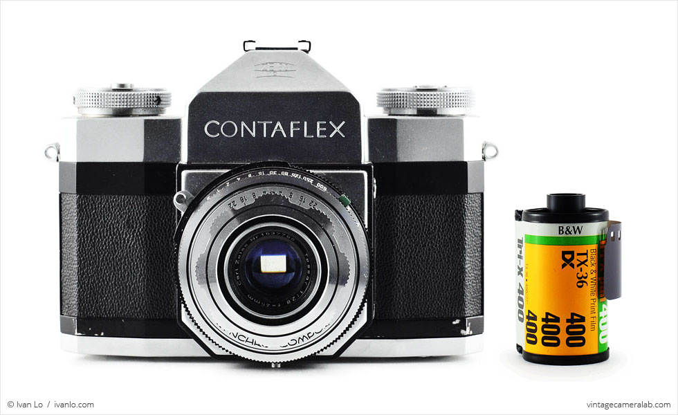 Zeiss Ikon Contaflex I (with 35mm cassette for scale)