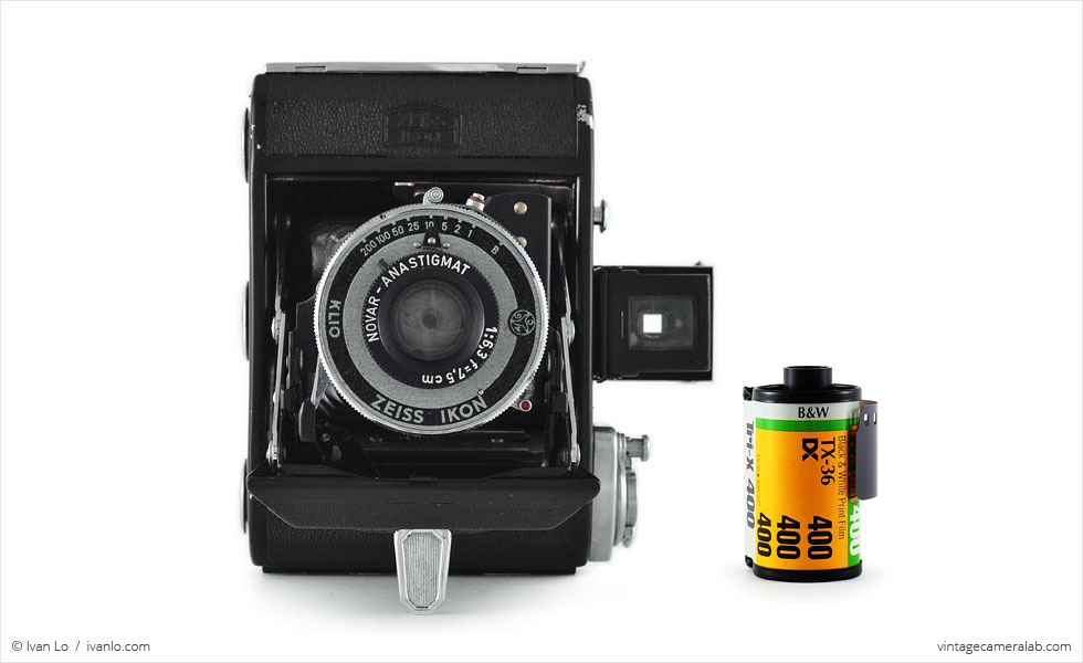 Zeiss Ikon Ikonta 521 (with 35mm cassette for scale)