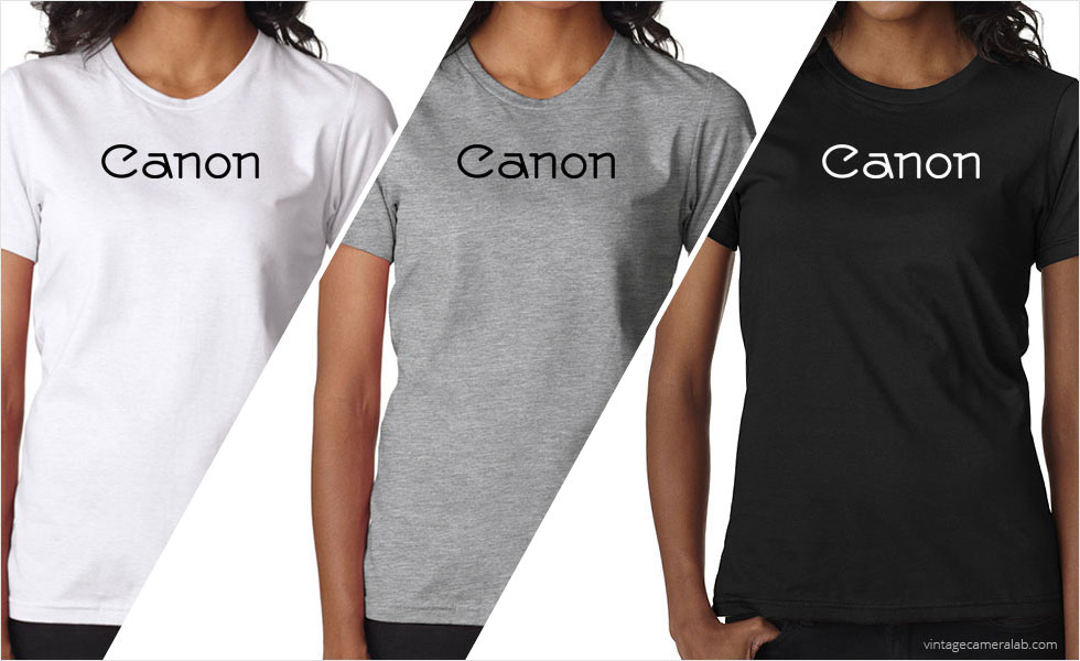 Canon vintage logo women's white t-shirt at Vintage Camera Lab