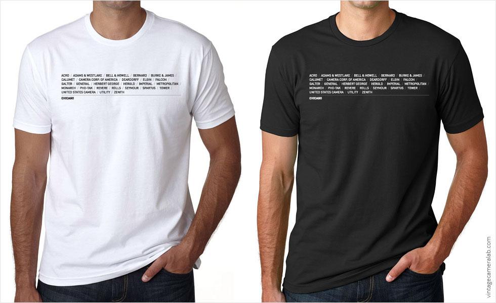 Chicago camera brands men's white t-shirt at Vintage Camera Lab