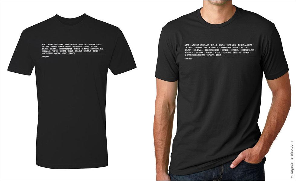 Chicago camera brands men's black t-shirt at Vintage Camera Lab