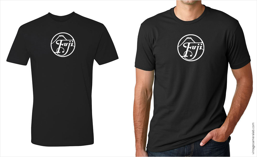 Fujifilm / Fuji vintage logo men's black t-shirt at Vintage Camera Lab