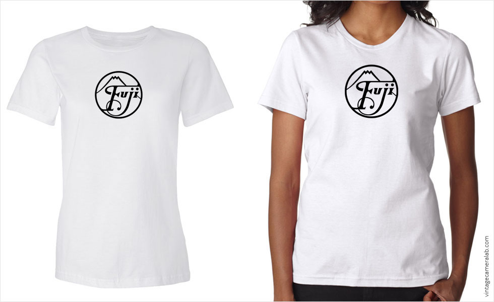 Fujifilm / Fuji vintage logo women's white t-shirt at Vintage Camera Lab