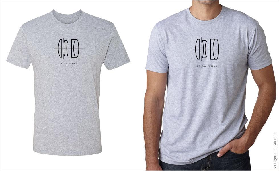 Leica Elmar lens diagram men's grey t-shirt at Vintage Camera Lab