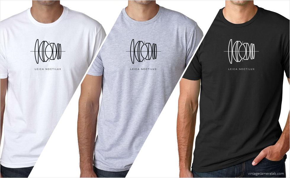Leica Noctilux lens diagram men's white t-shirt at Vintage Camera Lab