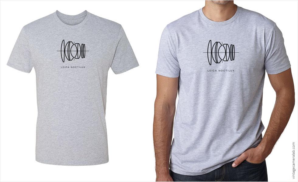 Leica Noctilux lens diagram men's grey t-shirt at Vintage Camera Lab