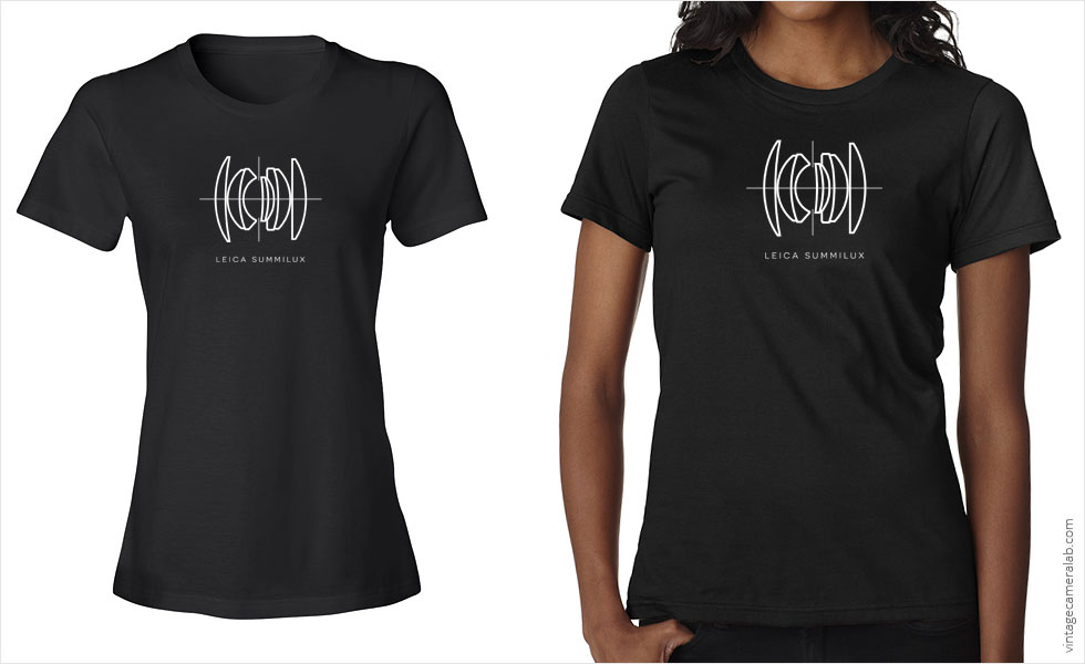 Leica Summilux lens diagram women's black t-shirt at Vintage Camera Lab
