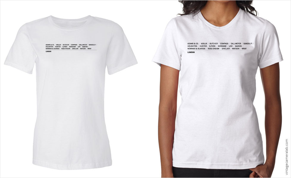London camera brands women's white t-shirt at Vintage Camera Lab
