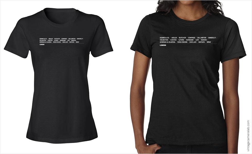 London camera brands women's black t-shirt at Vintage Camera Lab
