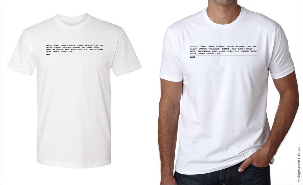 Paris camera brands men's white t-shirt at Vintage Camera Lab