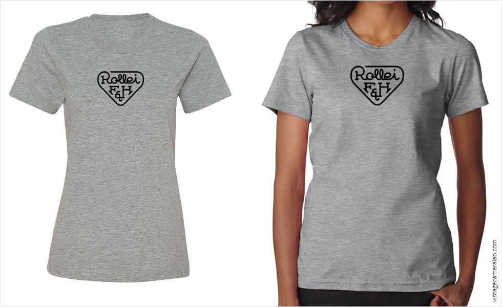 Rollei vintage logo women's grey t-shirt at Vintage Camera Lab