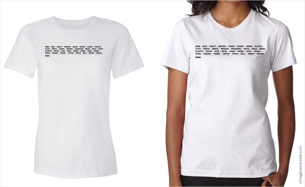 Tokyo camera brands women's white t-shirt at Vintage Camera Lab