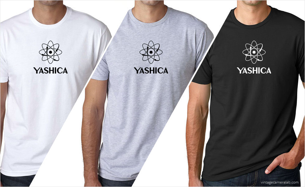 Yashica vintage logo men's white t-shirt at Vintage Camera Lab
