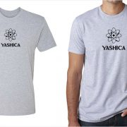 Yashica vintage logo men's grey t-shirt at Vintage Camera Lab