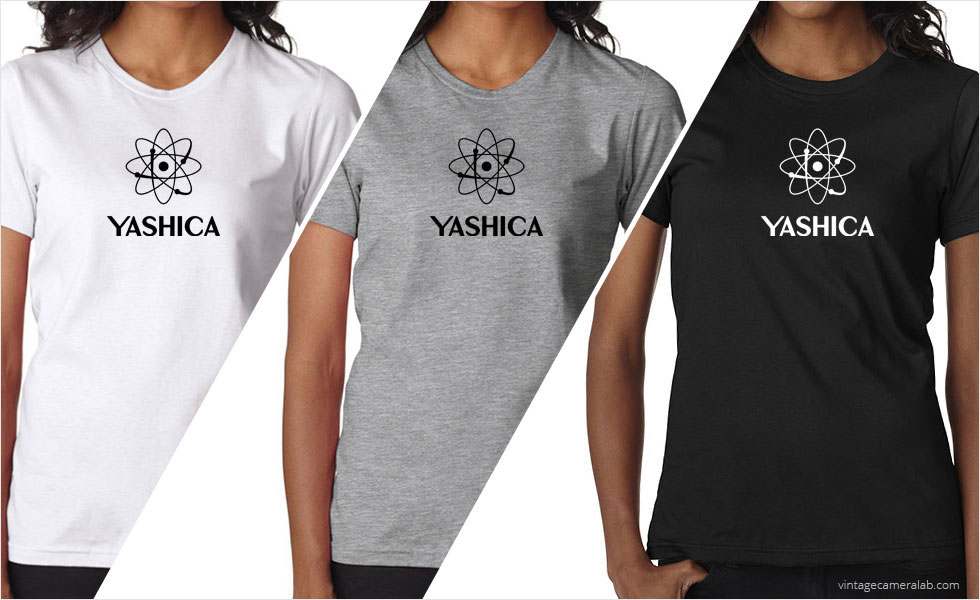 Yashica vintage logo women's white t-shirt at Vintage Camera Lab