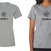 Yashica vintage logo women's grey t-shirt at Vintage Camera Lab