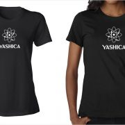 Yashica vintage logo women's black t-shirt at Vintage Camera Lab