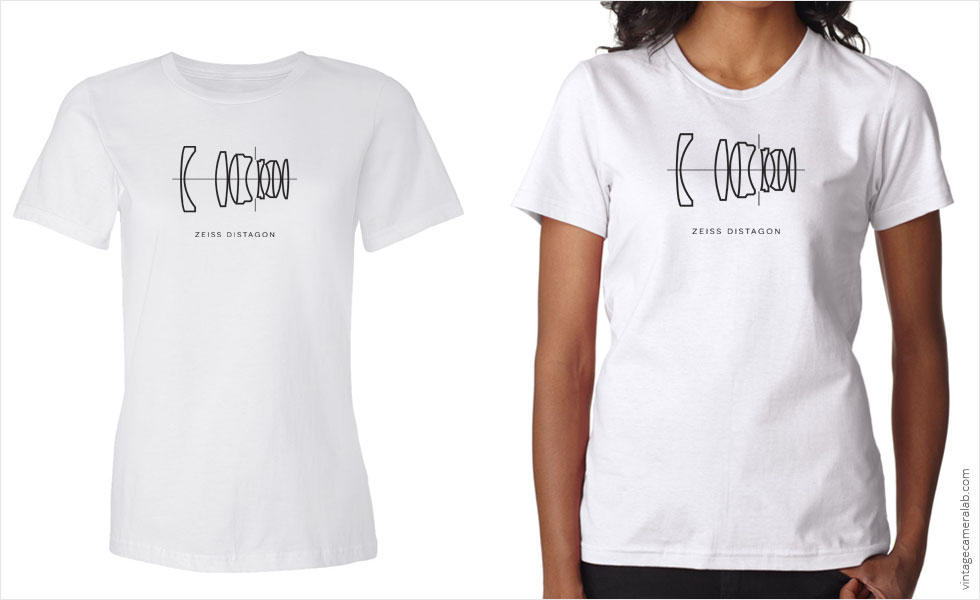 Zeiss Distagon lens diagram women's white t-shirt at Vintage Camera Lab